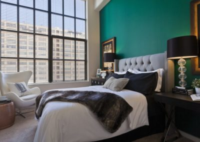 Center City apartment bedroom with large windows