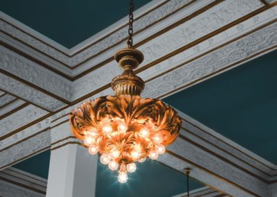 Exquisite chandeliers in The Packard Motor Car Building lobby and Center City apartments