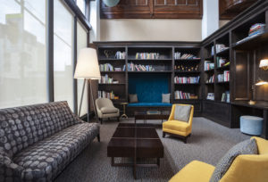 Center City apartment library at The Packard Motor Car Building in Philadelphia