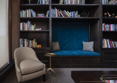 Resident library in the Packard Motor Car Building apartments in Center City