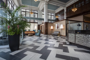 The Packard Motor Car Building apartments in Center City two-story lobby