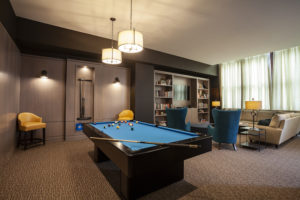 Game Area and Library for Center City apartment residents at The Packard Motor Car Building