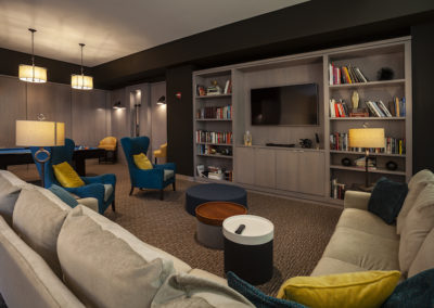 Resident lounge and library for Center City Philadelphia apartment building